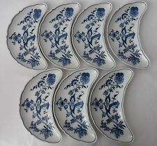 LOT 7 BLUE DANUBE Crescent Side Salad Plates Banner Mark Onion Near Mint JAPAN
