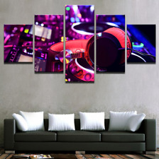 DJ Music Instrument Mixer And Headphones Pictures Canvas Painting Print 5 Pieces
