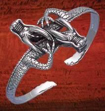 Sterling Silver Double Dragon Cuff Bangle - BA87