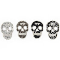 1Pcs Rhinestones skull Embroidered Patch Iron on Sewing Crystal Applique FT