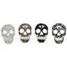 1Pcs Rhinestones skull Embroidered Patch Iron on Sewing Crystal Applique SYJY