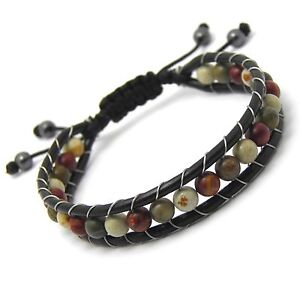 Bracelet STYLE Tibétain Cuir Perles Ø6mm pierre naturelle Picasso FaitSurMesure