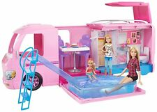 Barbie Dream Camper Van Campsite Playset Pool Water Slide Beds Doll Caravan Gift