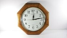 "Seiko Quartz Wall Clock Medium Brown Solid Oak Octagon Case 12"" - Working!"