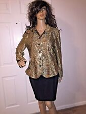 VTG 80'S XL GOLD SEQUENCE BUTTON UP BLAZER CAREER PARTY FORMAL HOLIDAY