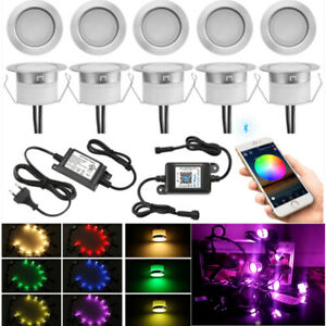 1-30Pcs 45mm RGB Bluetooth control Timer Dimmer LED Yard Step Soffit Deck Light