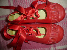 Designer Shoes/ Catimini Red Leather Ballerina Shoes with Ribbons in Size 29