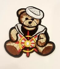 iron on embroidered patch childrens navy theme teddy bear