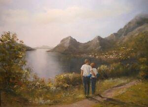 Montenegro 9x12 original oil painting Celene Farris. Lovers, mountain lake