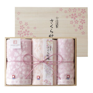 IMABARI KINSEI Sakura Monori Wash&2pcs Face Towel Wood Box set Made in Japan New