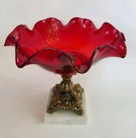 Vtg Brass Ornate Pedestal Ruby Cranberry Glass Bowl Fruit Compote Dish Marble