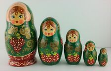 Matryoshka Nesting Dolls Made in Russia Hand Painted Russian 5 Dolls 6.5""