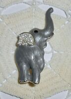 Vintage Gray Enamel Elephant Brooch Pin Clear & Black Rhinestone