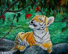 "Original Art 16x20"" Tiger Cub Baby Animal Cat Autumn Fall Oil Painting -SMcNeill"