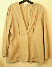 Scrub Jacket Tan Pink Ribbon Cancer Womens Long Sleeve Fitted Peaches Sz Medium