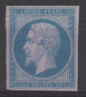 "FRANCE STAMP TIMBRE N° 14 A "" NAPOLEON III 20c BLEU TYPE I "" NEUF xx A VOIR N158"
