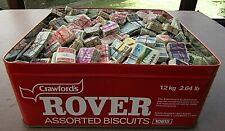 HUGE COLLN OF VINTAGE STAMPS IN OLD BISCUIT TIN -ALL IN BUNDLES OF 100 - 30,000+