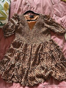 Leopard Print ASOS Tiered Smock Dress With Ruched Bodice And Puff Sleeves Size14