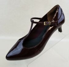 Rockport T-Strap Heels Kalila Burgundy Patent Leather Womens Shoes Size 6.5