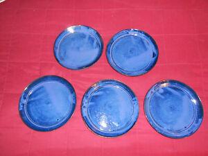 Cole North Carolina Pottery Seagrove, NC 5 Dark Blue Dinner Plates