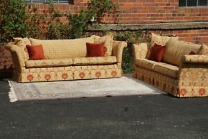 Pair of Knole David Gundry Style Ottoman Spice 3+ Seater Sofas