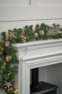 6ft Rose Gold  Decorated Pre Lit  Garland  Warm White LED Lights Decoration