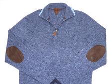 Born Men's 1/2 Zip Mock Neck Sweater Medium Heather Blue 100% Luxurious Cashmere