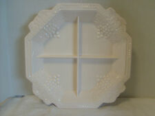 Vintage Shell Pink Milk Glass Grape & Leaves divided serving dish Centerpiece