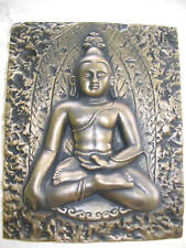 LOTUS BUDDHA WALL PLAQUE - HEAVY STONE - INDOORS OR OUT