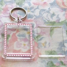 1x Blank Pink Gemstone Acrylic Keyring 50x35mm Photo Size (key ring plastic)