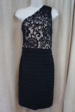 Betsy & Adam Dress Sz 4 Black Nude One Shoulder Tiered Evening Cocktail Dress