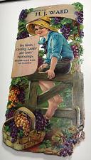 Ward Farm Boy Wine Grapes Die Cut Calendar Sign Millers Falls Massachusetts