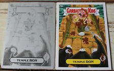 RARE 2014 Garbage Pail Kids Temple Ron Original Black Printing Plate & Card 51a
