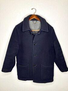 VTG Brooks Brothers 100% Wool Made in England Dark Navy Car Coat Overcoat Mens S