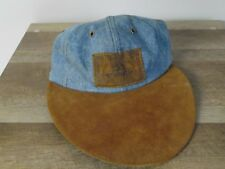 vintage Pussers of the west indies navy jeans big flat leather bill jean hat