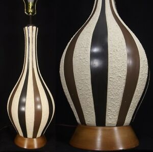 "Retro Table Lamp 40 3/4"" TALL CERAMIC & WALNUT 1950's MCM Mid Century Modern"