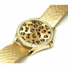 Faux Leather Band Women's Gold Plated Case Adult Watches