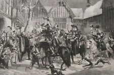 1867 Three Large Engravings - Medieval Times: Guests at Mardon & The Procession