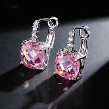 14k White Gold GF Dangle Earrings made w/ Swarovski Crystal Pink Topaz Stone