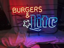"New Burgers and Lite Neon Light Sign 24""x20"" Lamp Poster Real Glass Beer Bar"