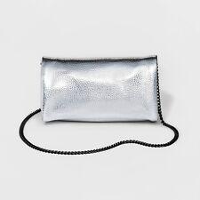 Mossimo Supply Silver Metallic Foldover Clutch Bag w/ Removable Crossbody Chain
