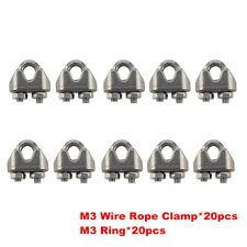 40 Pack Cable Clamps U-Bolts Galvanized Wire Rope Clamps Clips Assortment Kit