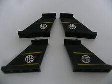 Lego 4 queues d avion noires 6772/ 4 black tails w/ stickers