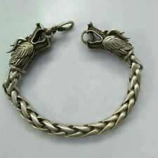 China  Old national style Tibet Silver Carve Pair dragon head chain Bracelet
