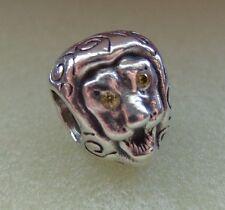 Authentic Pandora Lion Head Citrine Eyes bead charm 790443EZY