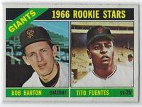 1966 TOPPS TITO FUENTES BOB BARTON ROOKIE CARD #511 SAN FRANCISCO GIANTS