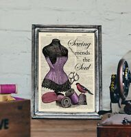 Antique Book page Art Print - Vintage Sewing/ Corset Quote Dictionary Page print