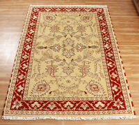 Traditional Wool Area Rugs Indian Handmade Floral Carpet 5x8 Hand Knotted Rugs