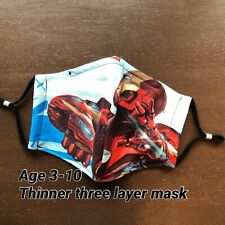 Thin Three Layers With Pocket washable reusable Iron Man face mask for Kids