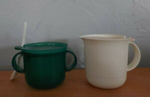 Tupperware sugar, creamer container/bowl, spoon Green 2310 white 2309 YOU CHOOSE